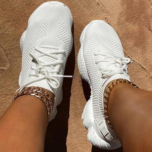 Mesh Women Sneaker Sock Shoes Summer Breathable Cross Tie Platform Round Toe Casual Fashion Sport Lace Up 2020 Female Girl