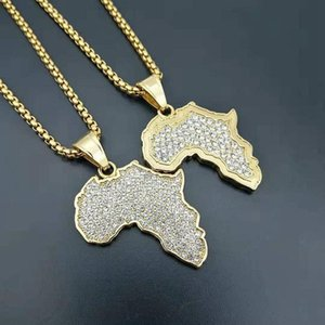 Stone Stainless steel Africa Map Pendant Necklace for Women Men Gold Color Ethiopian Jewelry Wholesale African Maps Hip Hop