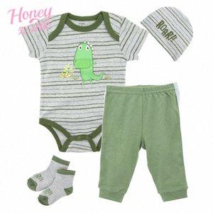 Dinosaur Honeyzone recém-nascido Roupa do bebé Set Verde Romper + chapéu + calça sapatos 4pcs Vestuário Terno Q5Og #