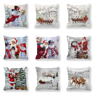 Merry Happy 2021 New Year Christmas Decorations Home Santa Claus Snowman Elk Style Cushion Cover 45x45cm for Sofa Car Seat