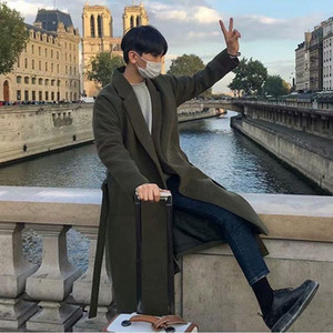 de CLASSDIM novíssimo mistura de lã Brasão Homens Winter Fashion selvagem Overcoat Masculino Thicken manter quente casacos de lã Casual