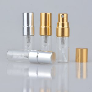 Refillable Glass Perfume Bottle With UV Sprayer Cosmetic Pump Spray Atomizer Silver Black Gold Cap 4 capacity for choose