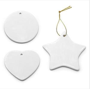 Branco Sublimation Ceramic transferência Pendant criativa enfeites Calor Printing DIY Coração cerâmico Ornamento DecorWY923w redondo do Natal