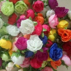 10 pcs lot 3cm Artificial flowers silk flower small roses bud handmade flowers diy head garlands for wedding home decorati