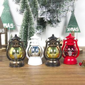 Linterna LED Lámpara de Navidad Vintage Retro Holiday Colgante Candlelight Feliz Navidad Año Nuevo Luces LED portátiles EWA1935