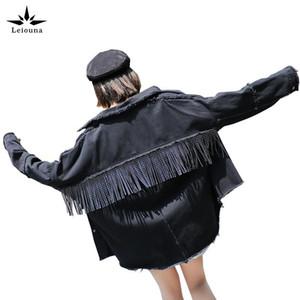 Leiouna Vire-down Collar Plus Size Estilo Punk Jacket Brasão 2020 Brasão Moda feminina Preto Casacos Chaqueta Mulheres Chaquetas Mujer