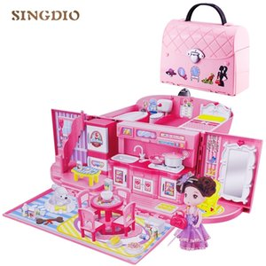 Diy dolls house handbag doll accessories cute house miniatures kids villa kitchen light music toys girl toy Suit for children Y200413