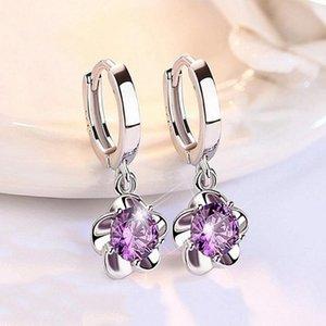 Mignon Femme Violet Crystal Stone Boucles d'oreilles Charm Couleur Argent Boucles d'oreilles à la mode ronde Zircon fleur de mariage pour les femmes
