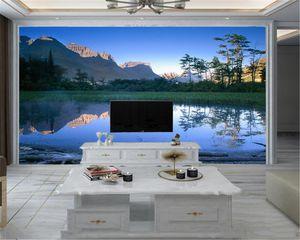 낭만적 인 풍경은 거실 사용자 정의 사진에 대한 벽화 벽지 아름다운 산맥과 풀 3D 벽 종이 3D