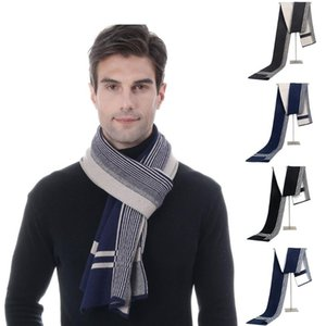 Fashion Solid Color 2020 Women Scarf Men's Autumn Winter Jacquards Knit Scarf Middle-aged gift Father Striped Gift
