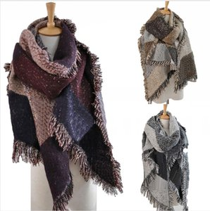 Women Wool Scarf Patchwork Plaid Poncho Cape Cardigan Tassel Winter Warm Cloak Wrap Outdoor Blanket Shawl Scarfs LJJP638
