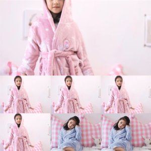mVkU flannel new pajamas bathrobe child bathrobe robe winter housewear boy's and veet autumn parent-childface girl's Children's