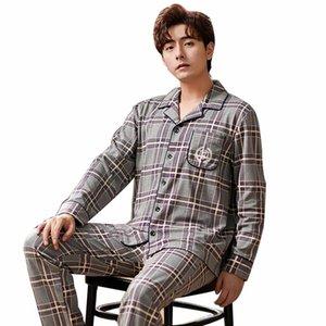 2020 Winter Cotton pyjama pour hommes Plaid Accueil Costumes manches longues Homme Pyjamas Casual CONFORTABLE Vêtements 2Pcs / Set Hommes