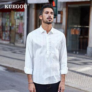 KUEGOU 100% хлопок полосатый рубашки весна осень Мужская рубашка с длинным рукавом мода досуга Белый Streetwear Плюс размер BC-20501