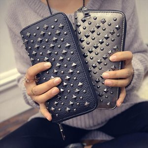 Women Female Marcas Woman Wallet Brand Wallets Designer Purses Billetera Famosas Rivet Mujer 2021 Porte Feuille Femme Pqefk