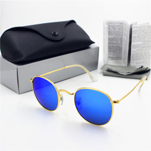 Retro 50mm Fashion Glass Protection Gold Women Round UV400 Sunglasses Men's Frame Blue Flash High New Lens 1pcs Quality Black Case dtbdzb