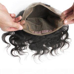 5pcs Lot 360 Dentelle Bande Fermeture frontale Brésilienne Vierge Cheveux humains 1B Nautral Noir 130% Body Wavy Dentelle Suisse 360 Perruques avant