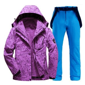 Winter Women Ski Suit 2 in 1 Jackets+ Pants Set Female Thicken Warm Waterproof Windproof Skiing And Snowboarding Clothes Suits1