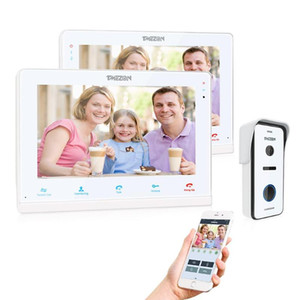 TMEZON Wireless / Wifi Smart IP Video Türsprechanlage, 10-Zoll-+ 7-Zoll-Screen-Monitor mit 1x720P Wired Tür-Telefon-Kamera