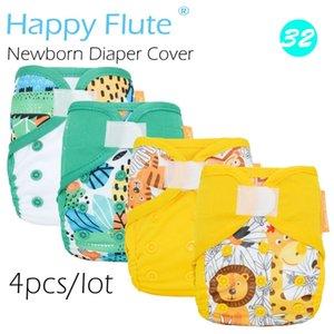 새로운! (4pcs / lot) 해피 플루트 NB 아기, 이중 누출 가드, 방수 및 통기성 201119에 대한 신생아 기저귀 커버