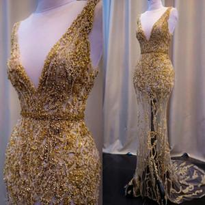 Gold-Nixe-Abend-Kleider mit tiefem V-Ausschnitt Spitzen Perlen Pailletten Gürtel Sweep Zug Abendkleid nach Maß formale Partei-Kleider