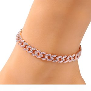 Europe and America Hot Trendy Women Anklets 4 Colors for Options 8mm 9 10inch Gold Color CZ Cuban Anklets Chains for Girls Women