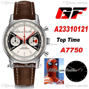 2020 New GF Premier Top Time ETA A7750 Automatic Chronograph Mens Watch White Black Dial Brown Leather Best Edition 41mm PTBL Puretime A35b2