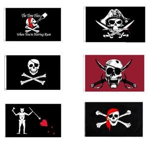 Bandeira de alta qualidade barato do pirata 6 Padrão Cores Polyester impressão Crânio 90x150cm Bandeiras que voam de suspensão por Deoration Fora