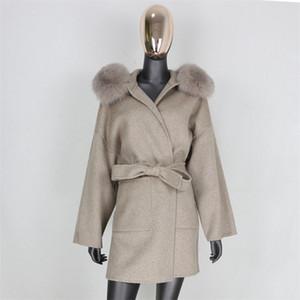 Furbelieve Cashmere Wool Blends Real Fur Coat Giacca Invernale Donne Donne Natural Fox Fur Collo Capispalla Cintura Streetwear Streetwear Oversize 201222