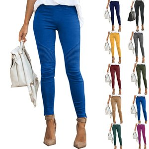 Hot Sell Fall Women Leggings Casual Multi-color Pleated Long Pants Slim Elastic Pencli Pants Ladies New Fashion Trousers