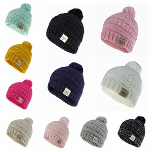 luxury- Winter Kids Knitted Hat Girls Baby Warm Pom Pom Fur ball Wool Hat Ladies Skull Beanie Crochet Ski Outdoor Letter Caps LJJA3172-6