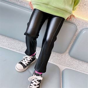 Gooporson Fall Fleece Leggings Mädchen Mode Korean Leder Hosen Winter Kleine Mädchen Costum Kinder Warme elastische Leggings Y1223