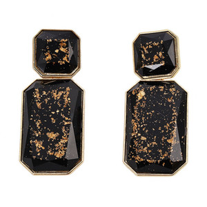 10 Pairs Gold Plated Layer Rectangle Shape Many Colors Resin Stud Earrings for Women Fashion Jewelry