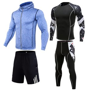 Running Suit Mens Fitness tights Training kit Compressed clothing Mens full suit Tracksuit Jogging clothing 1-4 pieces sports