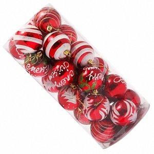 24pcs Рождество 6CM Пластиковые украшения рождественской елки шарика cThH #