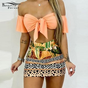 Bonnie Forest New Chic Sexy Off Shoulder Tie Front Top & Tropical Print Skirt Set Womens Floral Bandage Tracksuit Set Two Pieces 201012