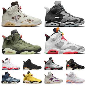 jumpman 6 erkek Ayakkabılar 6s Hare Denim Gri Travis Cactus Jack Hommes Sneakers Eğitmenler Boyut eur 47 Duman basktball