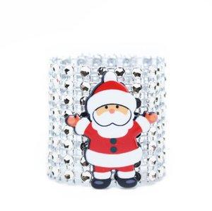 Ring Plastic Napkin Ring Christmas Rhinestone Wrap Santa Claus Chair Buckle Hotel Wedding Supplies Home Table AHB2519