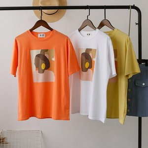 T Shirt Women Vintage Abstract Painting Thin Round Neck Tee Shirt Tops Vintage Loose Casual Streetwear Tee Femme