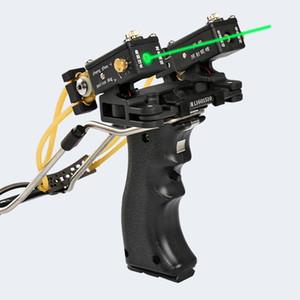 Лазер нацеливание рогатки, охотничьего лука Открытый мощный рогатки Высокие резиновые полосы складной запястья рогатки катапульты открытый 20111