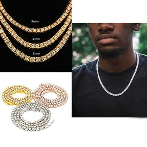 Mens Jewelry Hip Hop Sterling Bling Chains 1 Row Diamond Iced Out Tennis Necklace Fashion 24 inch Gold Silver Chain Necklaces