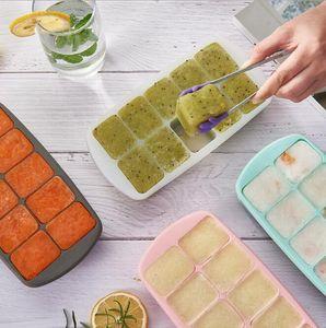 قالب الجليد صنع الجليد مربع سيليكون المنزلية مع غطاء الثلاجة محلية الصنع المجمدة كتلة الجليد العفن الطفل الغذاء مربع المطبخ أداة GWB4411