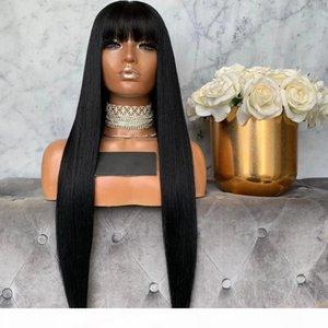 Silky Droite Jet Noir Indian Remy Cheveux De Dentelle Frontière Frontière Pour Femmes 360 Dentelle Perruques pleines avec frange 180 Perruques franges de densité
