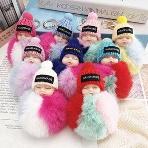 Cute Sleeping Baby Doll Keychain Colored Pompom Ball Key Chain Keyring Key Holder Bag Pendant Plush Fur Ball Key Ring Favor RRA3737