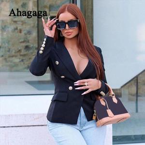 Ahagaga Automne Hiver Manteau Casual Femmes Mode Bouton Cardigan Streetwear Bureau Lady entaillé régulier Femmes Blazers Hauts pour femmes