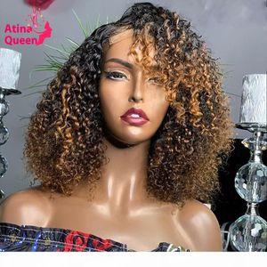 Прозрачный Pixie RUM BOB WIG 13x4 Kinky Curl Highlight Короткие Медовые Блондинка Кружева Фронтальные Парики Практические Женщины Remy HD Кружева Парик