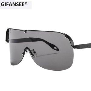 Солнцезащитные очки Gifansee Негабаритные Женские Берегинные Мужчины 2021 Один кусок Линза Визуализация Маска Ветрозащитный Роскошные Черные Очки Очки Уникальные