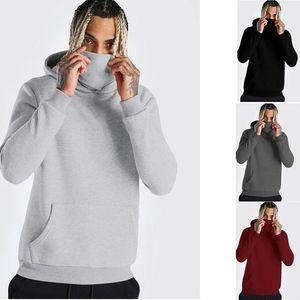 Mask Mens Hoodie Sleeve Hooded Thin Hoodie Gym Mask Open-Forked Casual Splice Sweatshirt Large With Sweatshirt Long Tops Qsosq
