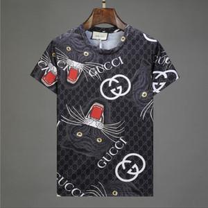 Новая 2020 Оптовой одежды Мужской G Футболка Полного экран дизайнера печать тигра хип-хоп одежды мужских рубашки плюс размер синего Хаки 815