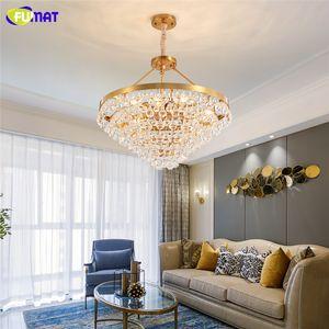 FUMAT Luxury Modern Chandelier Lighting For Living Room Round Hang Crystal Light Fixture Dining Room Bedroom Light Fixture For Ceiling